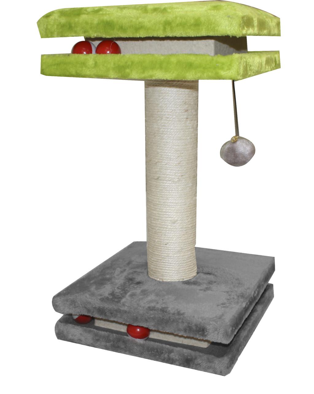 Когтеточка CROCI Interactive Floors, этажерка с шариками, плюш/сезаль, 35х35х50см