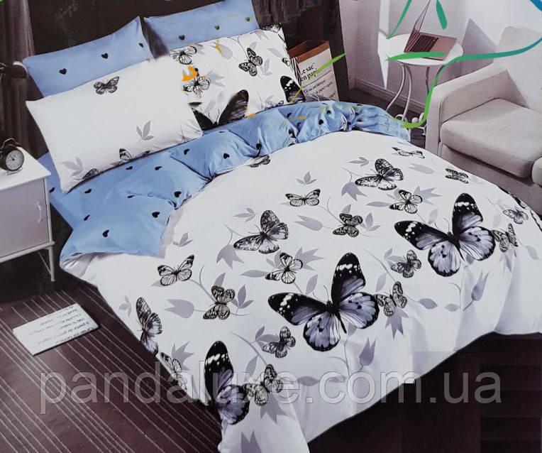 Постельное белье бязь голд, красивый двуспальный комплект с бабочками Аполлон