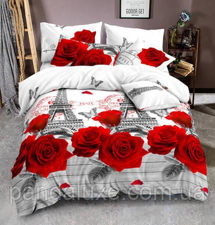 Постільна білизна, гарний євро комплект Париж в трояндах