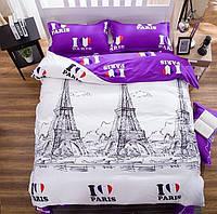 Постельное белье, красивый полуторный комплект Люблю Париж