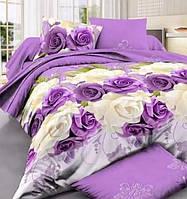 Постельное белье, красивый полуторный комплект Розы на фиолетовом