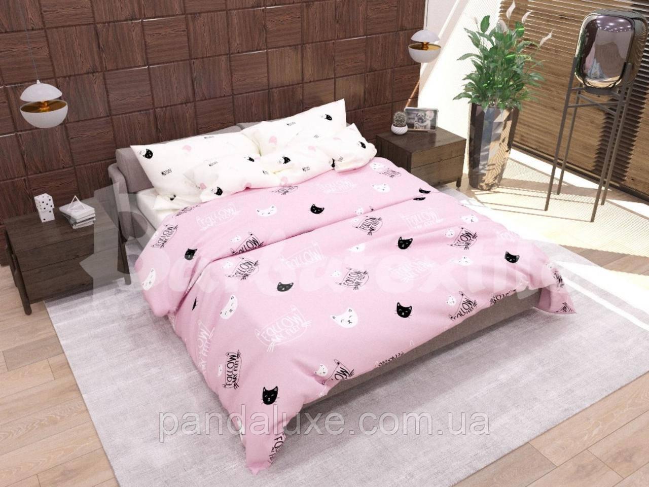 Постільна білизна, гарний двоспальний комплект Кіт