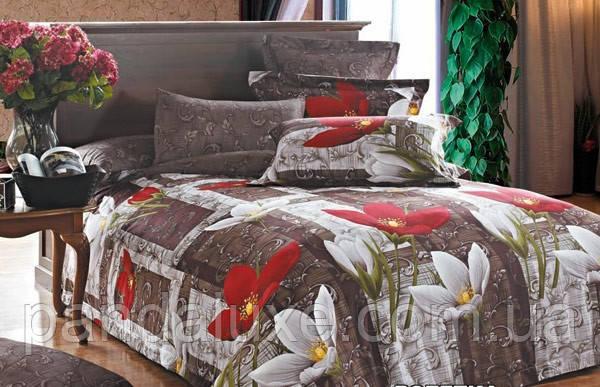 Постельное белье бязь голд, красивый двуспальный комплект Цветочки, фото 2