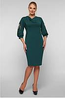 Женское платье приталенное миди большого размера 52, 54, 56, 58 р цвет изумруд