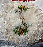 Пасхальная салфетка на корзину в бежевом цвете