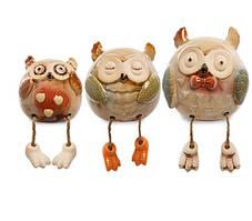 Набір з 3 керамічних статуеток на полицю Сови CF-06