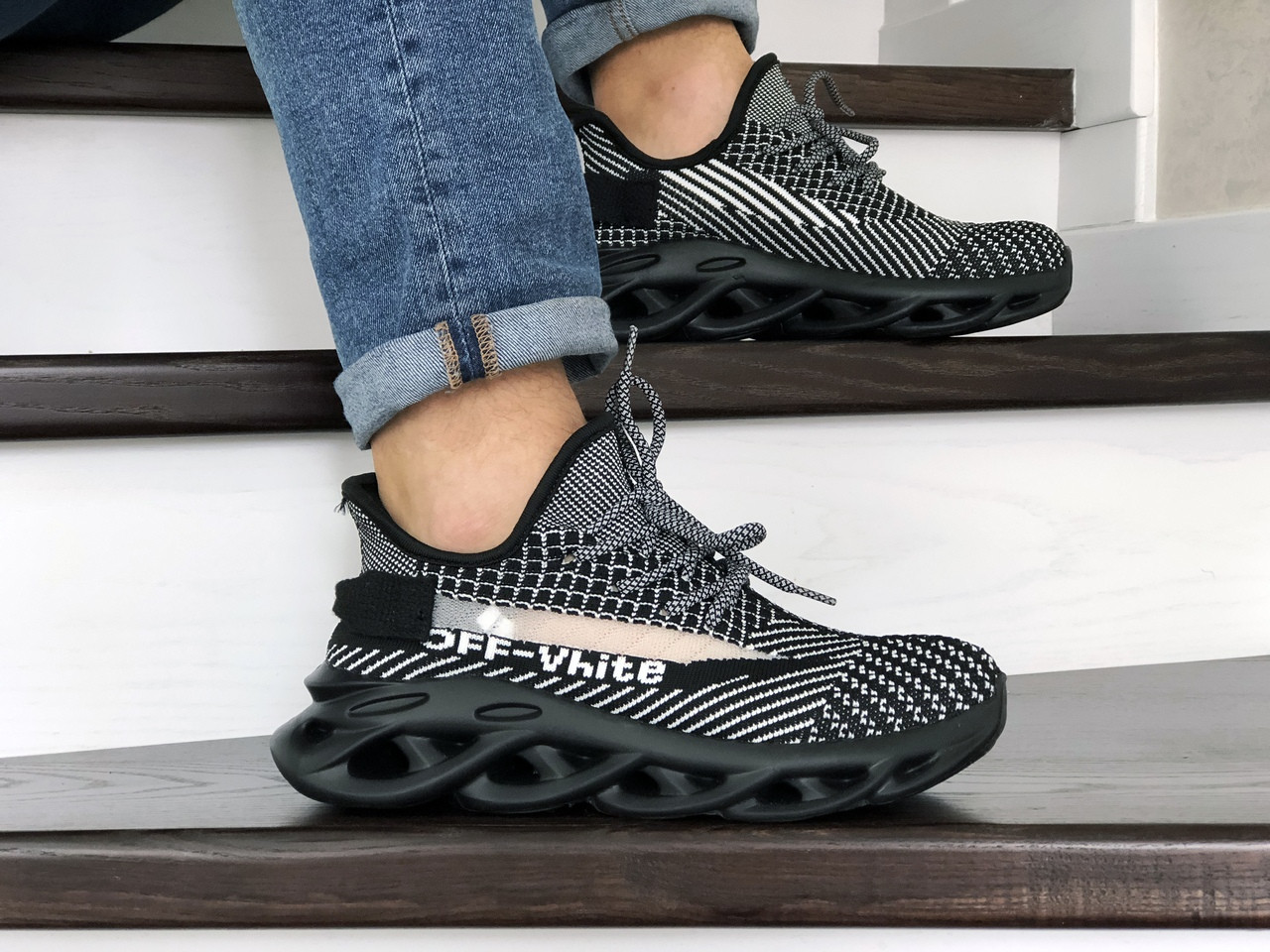 Мужские кроссовки Off White,черно-белые