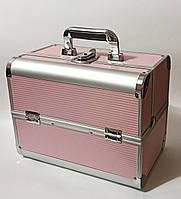 Бьюти кейс алюминиевый чемодан с ключом пудра гафрированные полосы