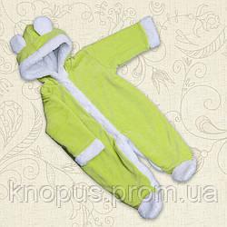 Теплый комбинезон для новорожденных   велюровый на махровой подкладке,  салатовый, Бетис, размеры  55, 68