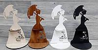 """Деревянная сборная салфетница, подставка для салфеток """"Дама с зонтом"""""""