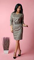 Стильное женское платье в клетку под съемный пояс с пряжкой в тон пуговиц, фото 1