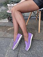 Фиолетовые замшевые туфли-балетки низкий ход