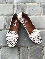 Кожаные туфли-балетки ПУДРА перфорация ажурная с бантиком