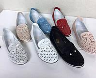 Кожаные туфли-балетки перфорация ажурная с бантиком