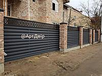 Паркан, відкатні ворота, хвіртка. Металевий штахеник + декор
