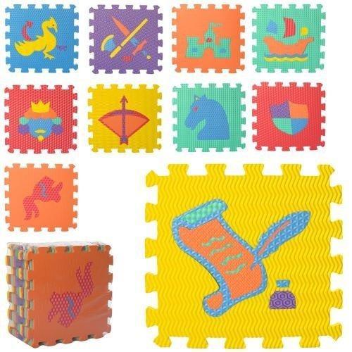 Коврик Мозаика M 6101  EVA,напольн.покрыт,рыцари, 10дет(9мм,32-32см),5текстур, куль,32-10-32с