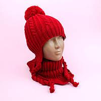 Детский набор красная шапка и манишка ДендіК тм Babasik размер 48-50