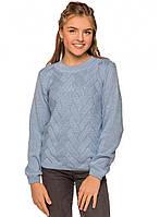 Вязаный джемпер девочке Жаклин голубой тм TASHKAN размер 128,152 см