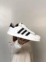 Кроссовки мужские Adidas Superstar белые, Адидас Суперстар. Натуральная кожа, прошиты. Код Z-2096