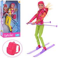 Кукла DEFA Лыжница шарнирная, 30см, лыжи, рюкзак, шлем, в кор-ке, 18-34-7см