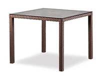 Стол плетенный из ротанга квадратный садовый со стеклом