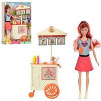 Кукла   шарнирная, 29см, кафе на колесах13-31см, аксессуары, в кор-ке, 22-33-7см