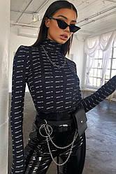 Женское боди Jey amazine black с длинным рукавом