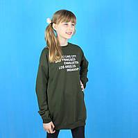 Детская кофта-туника для девочки с лентами синяя тм Toontoy размер 8,10,12,14