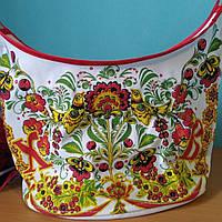 Корзина пасхальная с красным принтом орнамент, фото 1