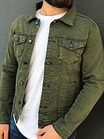 Джинсовый мужской пиджак цвета хаки
