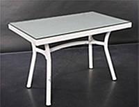 Стол плетенный из ротанга прямоугольный садовый со стеклом