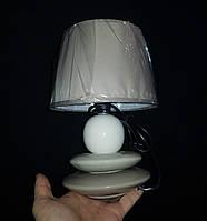 Настільна лампа з абажуром сіра, фото 1