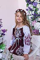 Плаття для дівчинки Пташки бордово-біле