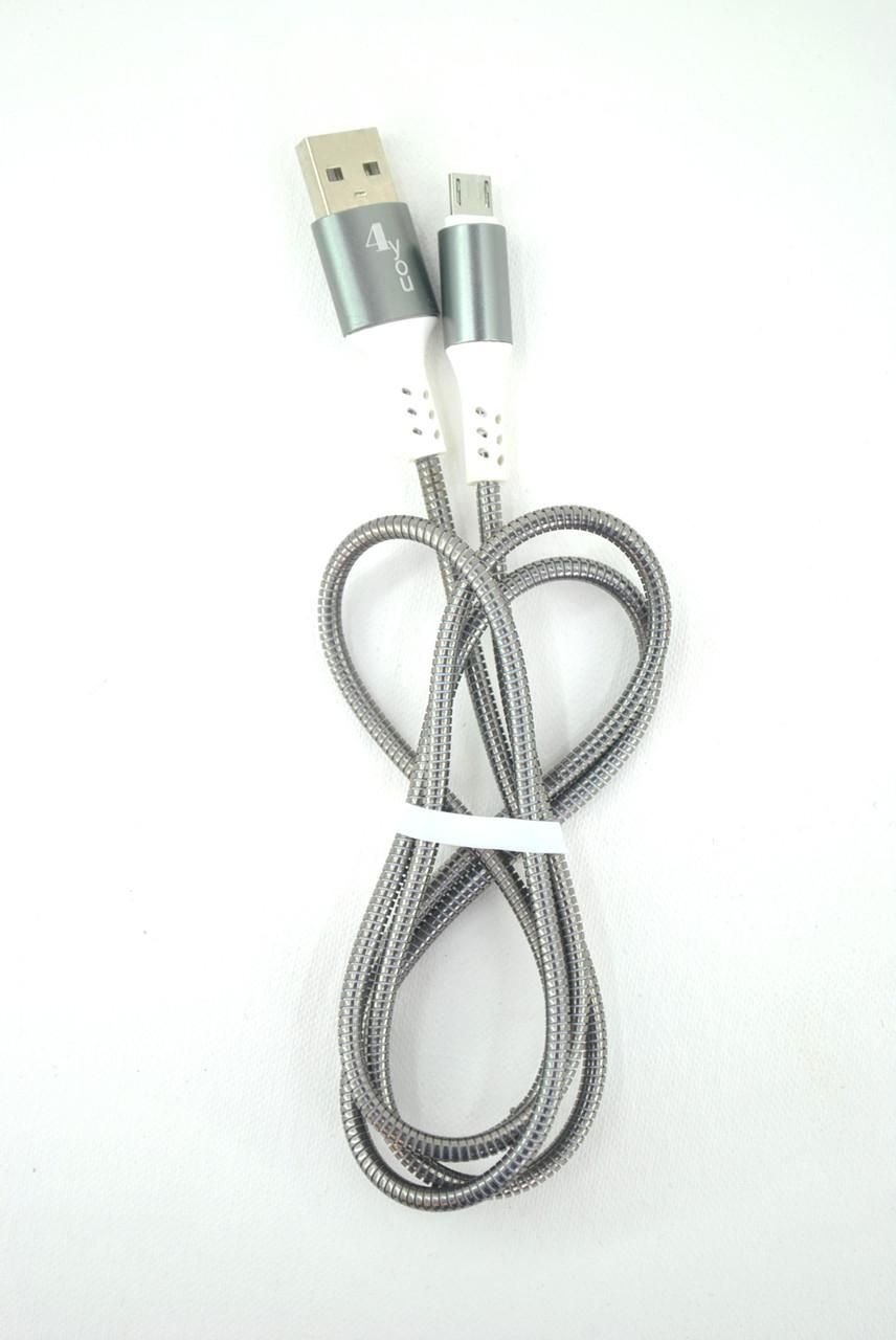 Кабель Usb-cable Micro USB 4you Ebro (2000mah, метал, черный)