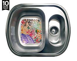Кухонная стальная  мойка на 2 отделения с ковриком (60*49*19 cм) Galati Vayorika 1.5C Satin