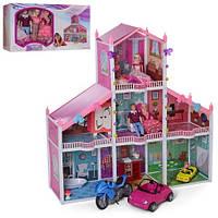 Домик   118-115-32см, 3 этажа, кукла 4шт, 29см, в кор-ке, 64-36-27см