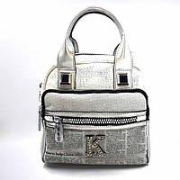 Сумка-рюкзак женская, натуральная кожа, серебро Арт.K6335-6 KSL (Китай)