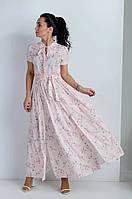Длинное модное оригинальное платье с разрезами на юбке, платье нежного розового цвета .