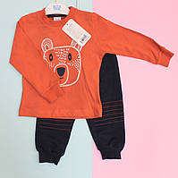 Костюм трикотажный синий для мальчика Мишка: кофта, спортивные штаны размер 74,80