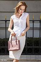 Летний деловой костюм с юбкой-карандаш белый
