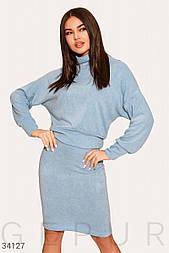 Повседневный костюм с юбкой из трикотажа голубой
