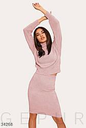 Повседневный костюм с юбкой из трикотажа розовый