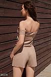 Летний льняной костюм с шортами и открытыми плечами, фото 3