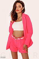 Яркий летний костюм с шортами высокой розовый