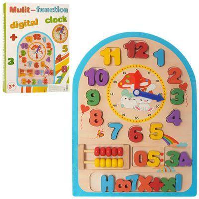 Дерев'яна іграшка Годинник MD 1050 рахунки, цифри, в кор-ке 23-30,5-2,5 см