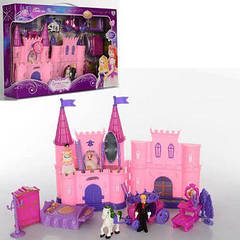 Замок SG-2979 принцессы,16-23-8см,муз,св,мебель,фигур,карета,на бат-ке(таб)в кор-ке 44-29-8см