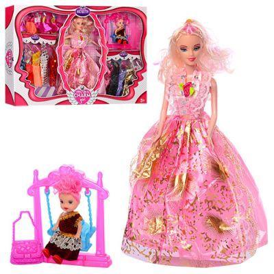Кукла с нарядом 093A 28см, дочка 10см, платье 15шт, качели, в кор-ке  51-32,5-6см