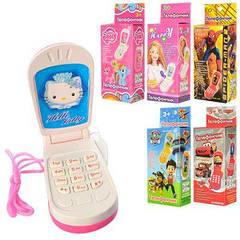 """Телефон M 0265 I U/R-1 телефон """"розкладачка"""", озвучений російською мовою, світиться антена, 6 видів, в кор-ке,11,5-4,5-3см"""