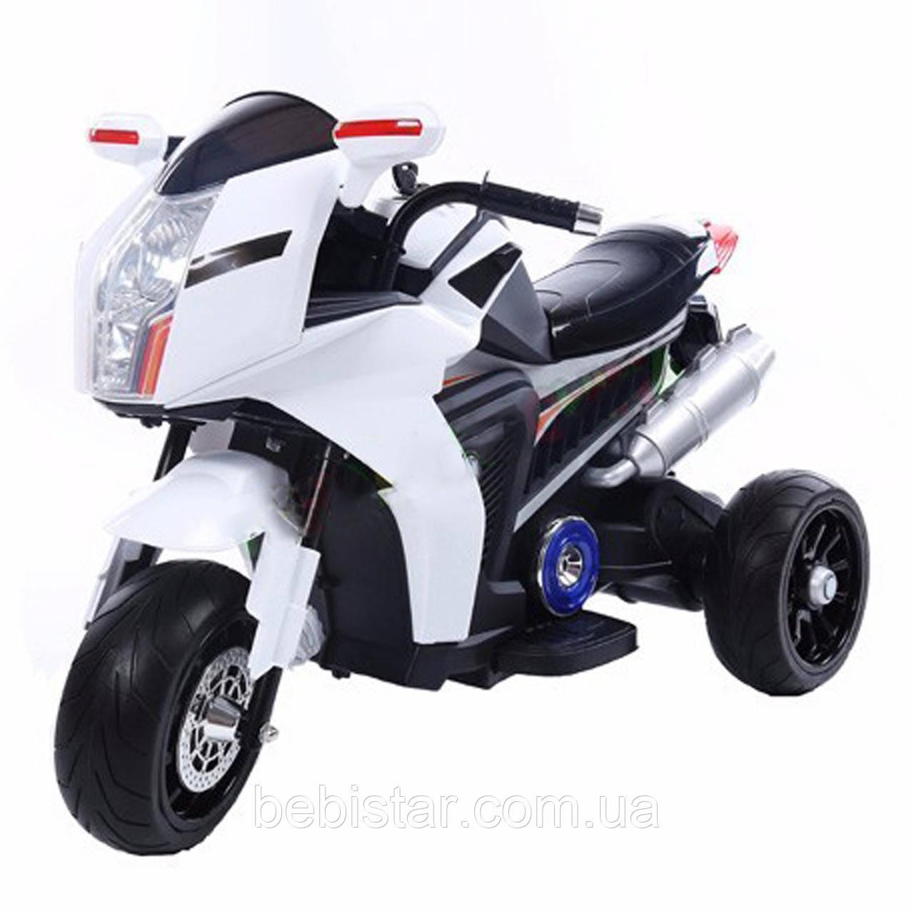 Электромобиль мотоцикл белый на EVA резине с ключом зажигания T-7213 EVA WHITE деткам 3-7 лет мотор 2*20W