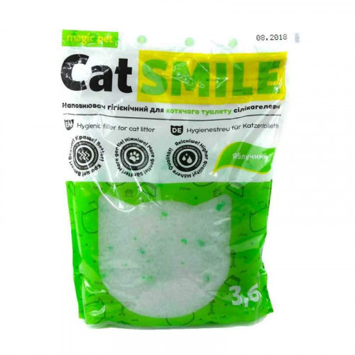 Силикагелевый наполнитель Magic Pet Cat Smile для кошачьих туалетов, с ароматом яблока 3, 6 л (1,8 кг)